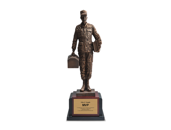 18 Maintenance Man Resin Cast Award Featuring Fine Detail Brushed With Bronze Accents On Cherrywood Base Black Inlay 23h X 8w 6 1 2d